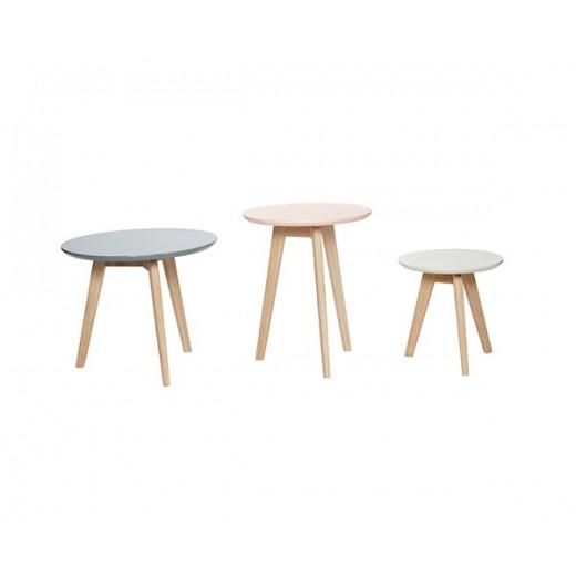 3 Runde borde af egetræ i grå, grøn og rosa fra Hübsch-31