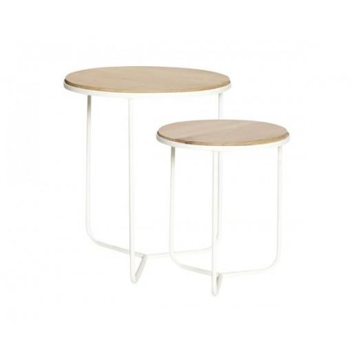 Rundt bord med to overflader i egetræ og ben i hvidmalet jern fra Hübsch-31