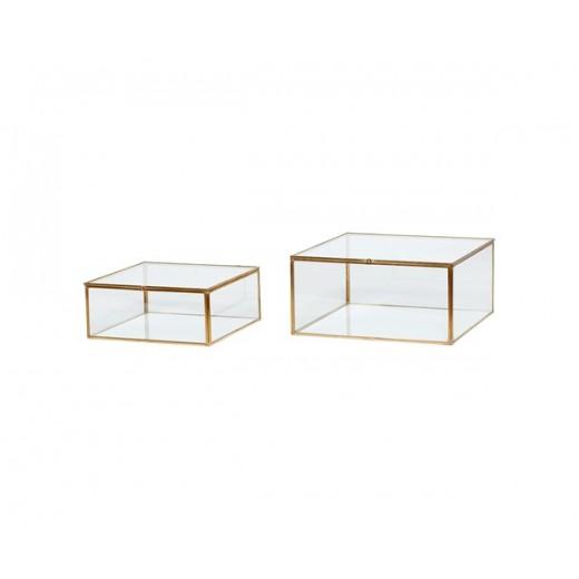 2 smukke glasbokse med messingkanter fra Hübsch-31