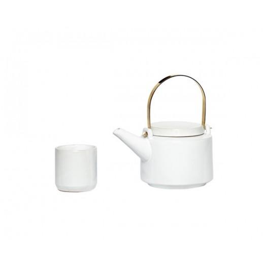 Tekande med 5 kopper i hvid keramik fra Hübsch-31