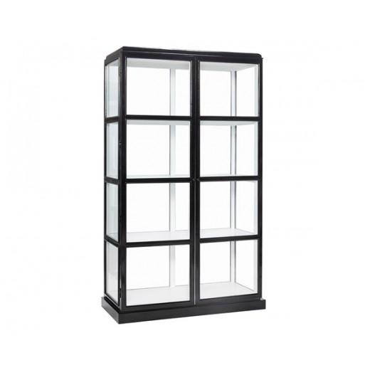 Vitrineskab i glas, med sort ydre og hvidt indre og 4 hylder fra Hübsch-31