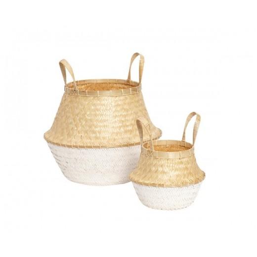 2 dråbeformede kurve i bambus med naturlig top og hvidfarvet bund fra Hübsch-31