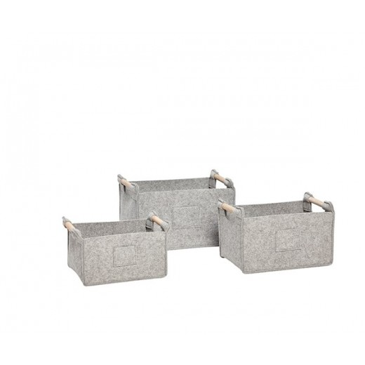 3 grå firkantede filtkurve med træhank fra Hübsch-31