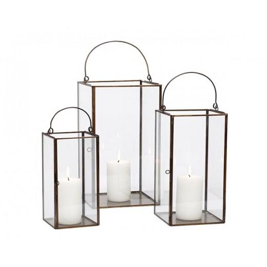 3 smukke glas lanterner i antik look med metal kant fra Hübsch-31