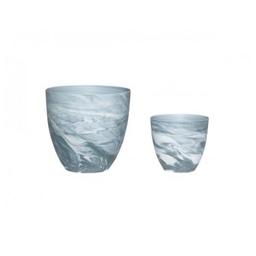 2 Fyrfadsstager i mørkegråt og hvidt mønstret porcelæn fra Hübsch-31