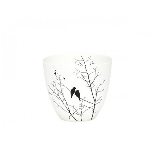 Fyrfadsstage i hvid porcelæn med fugle motiv fra Hübsch-31