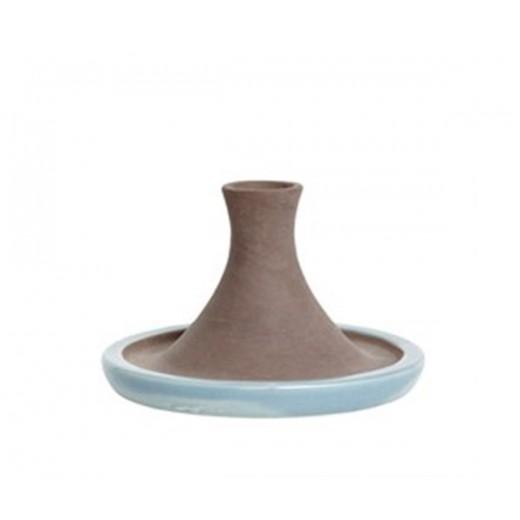 Lysestage i rustik naturfarvet og blå keramik fra Hübsch-31