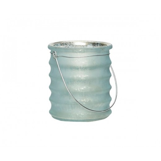 Fyrfadsglas med riller og hank i lyseblå fra Hübsch-31