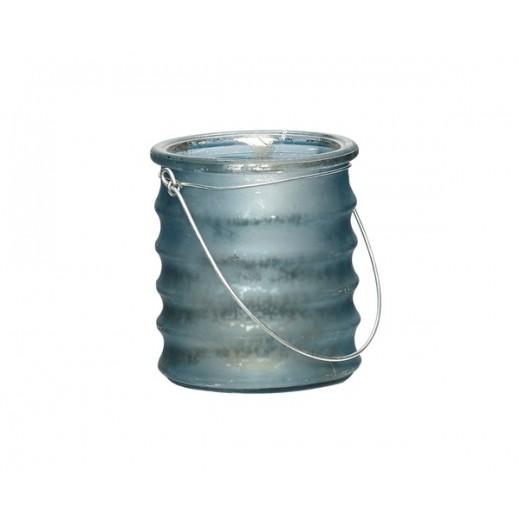 Fyrfadsglas med riller og hank i mørkeblå fra Ib Laursen-31
