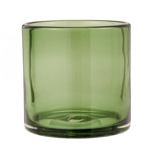 Fyrfadsstage i olivenfarvet glas, mundblæst fra Ib Laursen-31