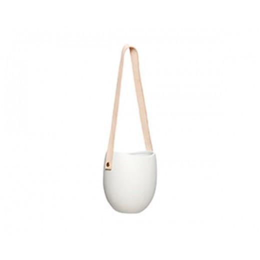 Hvid porcelæns potte med lys læderstrop fra Hübsch-31