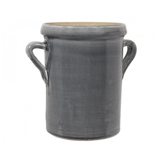 Urtepotte skjuler med ører i mørkegrå keramik str small fra Ib Laursen-31