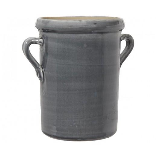 Urtepotte skjuler med ører i mørkegrå keramik str large fra Ib Laursen-31