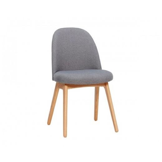 Enkelt stol i mørkegråt stof med egetræsben fra Hübsch