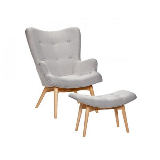 Lænestol i lysegråt stof med skammel fra Hübsch-31
