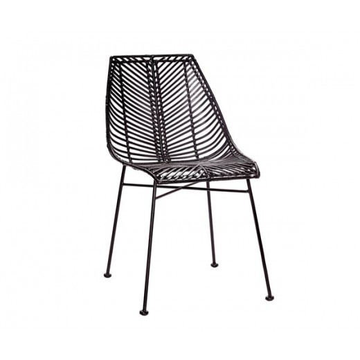 Spisebordsstol i sortfarvet rattan fra Hübsch-31