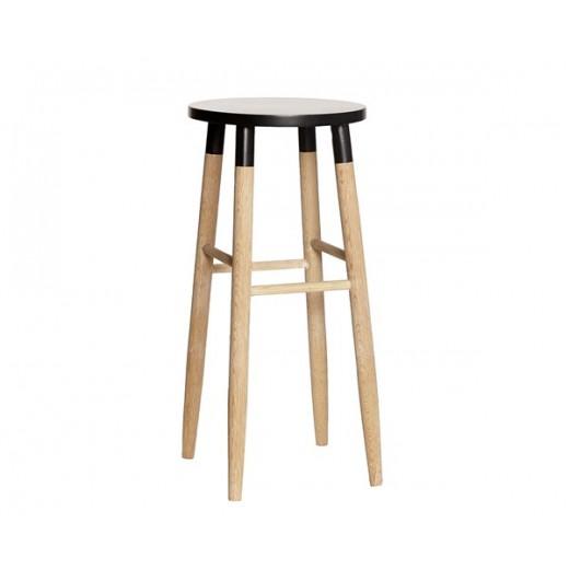 Barstol i egetræ med sort top fra Hübsch-31