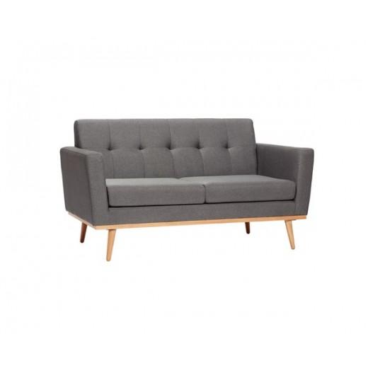 Mørkegrå sofa til to personer, med egetræsben fra Hübsch-31