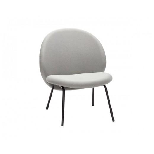 Lounge stol i lysegrå med sorte metal ben fra Hübsch-31