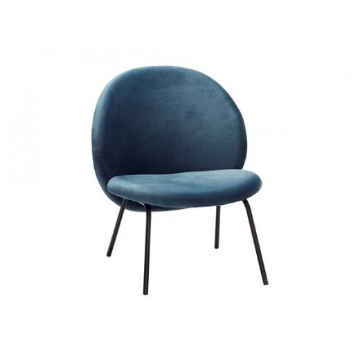 Lounge stol i blåt velour med sorte metal ben fra Hübsch-31