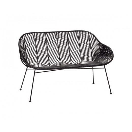 Sofa i sortfarvet rattan med metal ben fra Hübsch-31