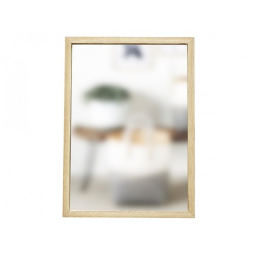 Firkantet spejl i lyst egetræ fra Hübsch i str. Small, 35 cm x 50 cm-31