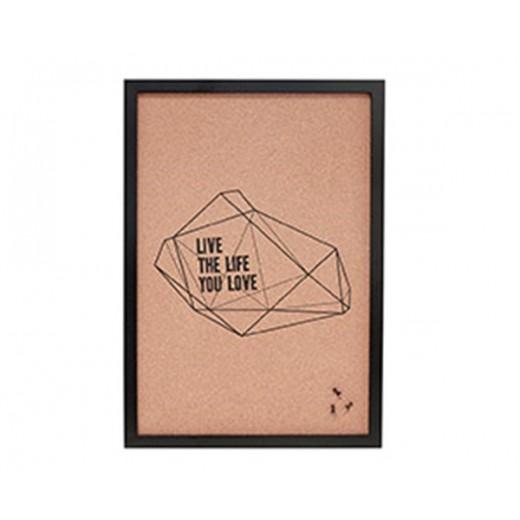 "Opslagstavle i kork, med sort ramme og teksten ""live the life you love"" fra Hübsch i størrelse, 40 cm x 2 cm x 47 cm-31"