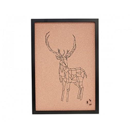 Opslagstavle i kork, med sort ramme og printet kronhjorte motiv fra Hübsch i størrelse, 40 cm x 2 cm x 47 cm-31
