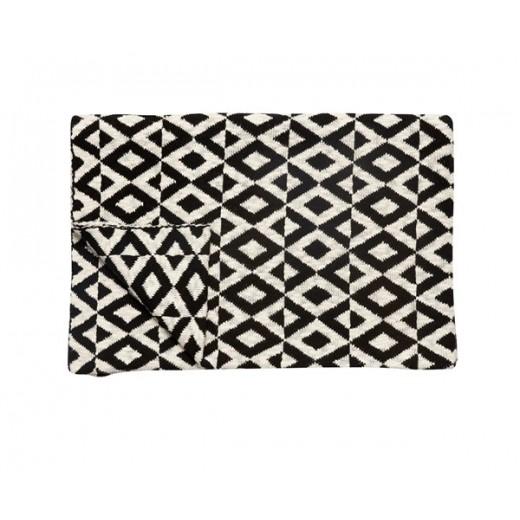 Plaid i bomuld med sort hvidt mønster fra Hübsch i størrelse, 130 cm x 170 cm-31