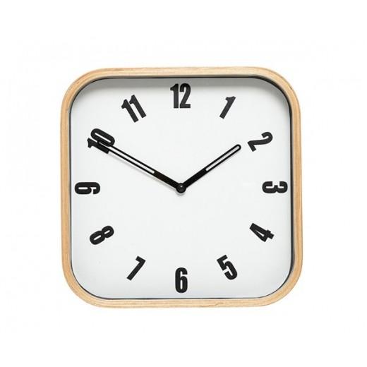 Firkantet ur i hvid med træramme fra Hübsch-31