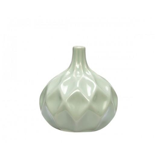 Vase i hvid keramik med mønster fra Hübsch-31