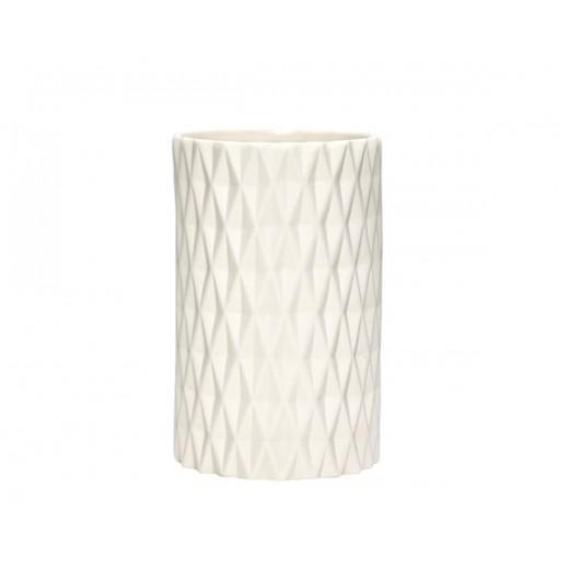 Vase i hvid porcelæn med mønster fra Hübsch-31