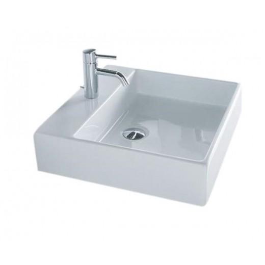 Disegno Box 50 Firkantet porcelænsvask med hanehul fra Cassøe-31