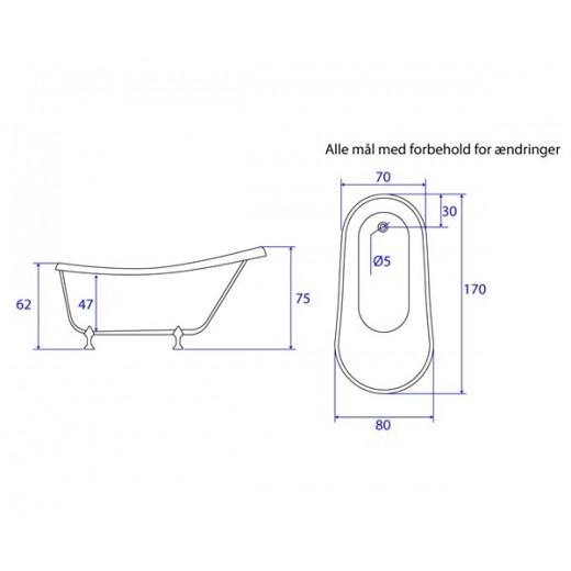Akrylbadekar Suså 170 cm-32