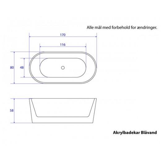 Fritstående badekar Nørrestrand 170 cm-32