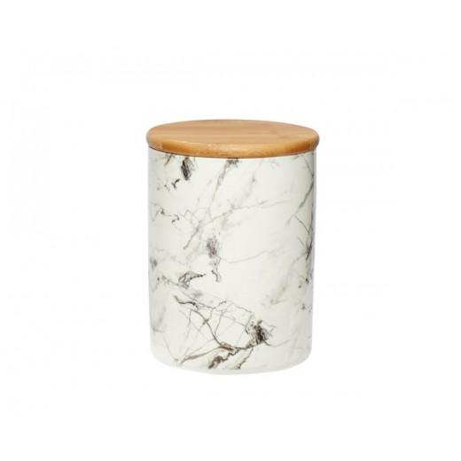 Krukke i keramik med marmor mønster med låg fra Hübsch-31