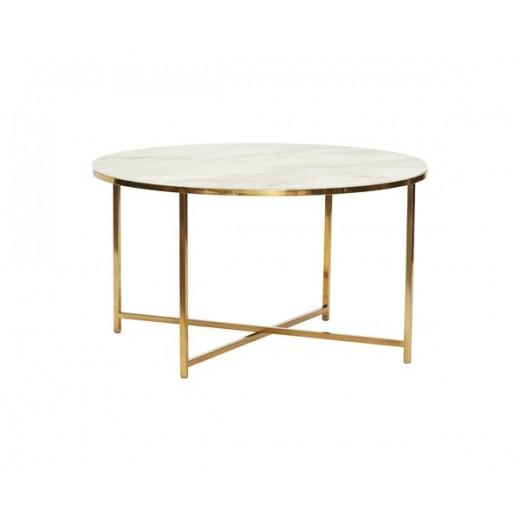 Rundt sofabord i metal/glas, hvid/messing fra Hübsch-31