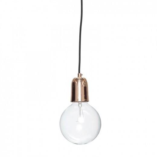 Lampe i kobber med sort ledning fra Hübsch-31