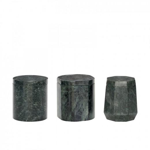 3 opbevaringsdåser i grønt marmor med låg fra Hübsch-31