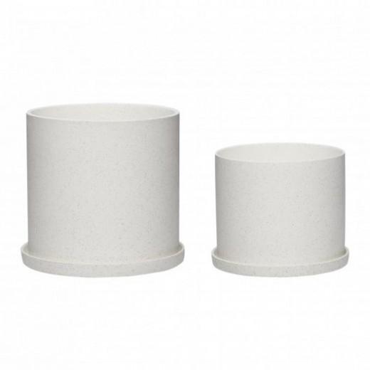 Potte i hvid keramik fra Hübsch Sæt med 2-31