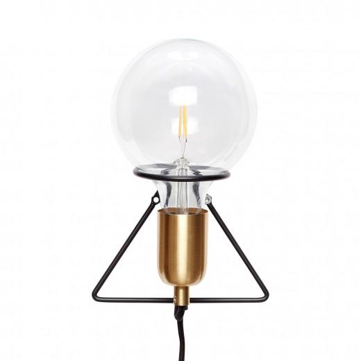 Væglampe med pære i messing/sort fra Hübsch-31