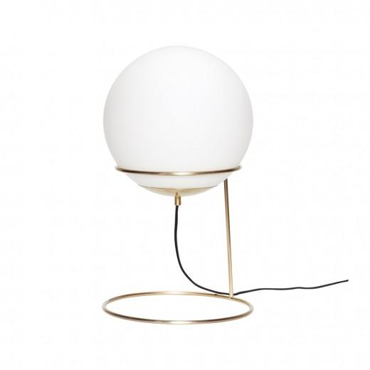 Gulvlampe i messing/hvid, metal/glas fra Hübsch-31