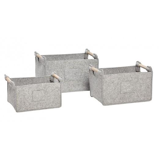 3 grå firkantede filtkurve med træhank fra Hübsch UDSTILLINGSMODEL-31