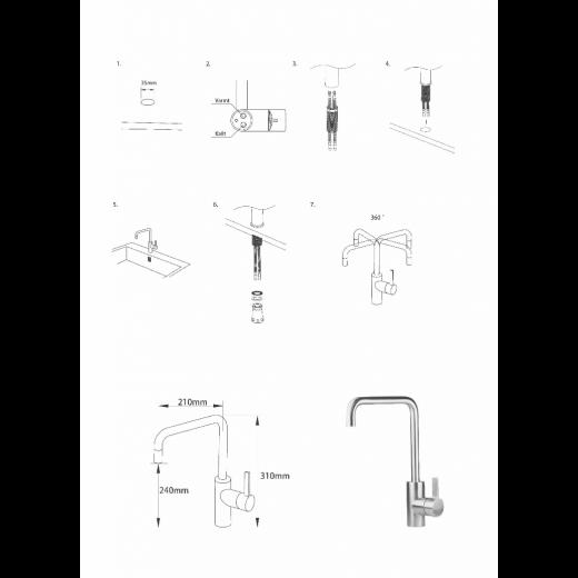 Noba CK01 køkkenarmatur i blank rustfri stål fra Cassøe-31