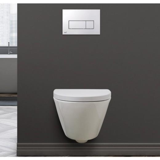 SPRING RIMLESS væghængt toilet Hvid Sort (sæde og skål sælges separat)-31