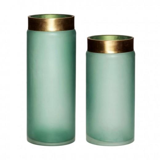 Glass vase i grøn/guld s/2 fra Hübsch-31