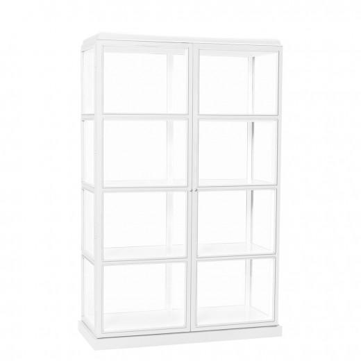 Vitrineskab i glas med hvidt ydre og hvidt indre med 4 hylder fra Hübsch-31