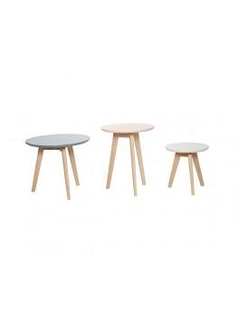 3 Runde borde af egetræ i grå, grøn og rosa fra Hübsch-20