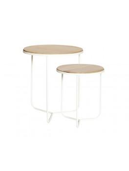 Rundt bord med to overflader i egetræ og ben i hvidmalet jern fra Hübsch-20
