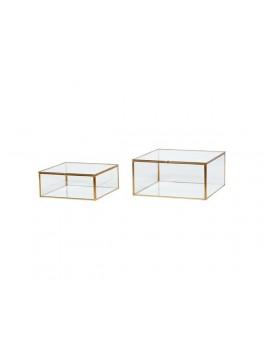 2 smukke glasbokse med messingkanter fra Hübsch-20
